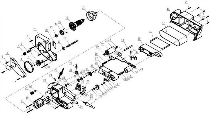 Деталировка на ленточную шлифовальную машину WATT WBS-900 (4.900.457.00)