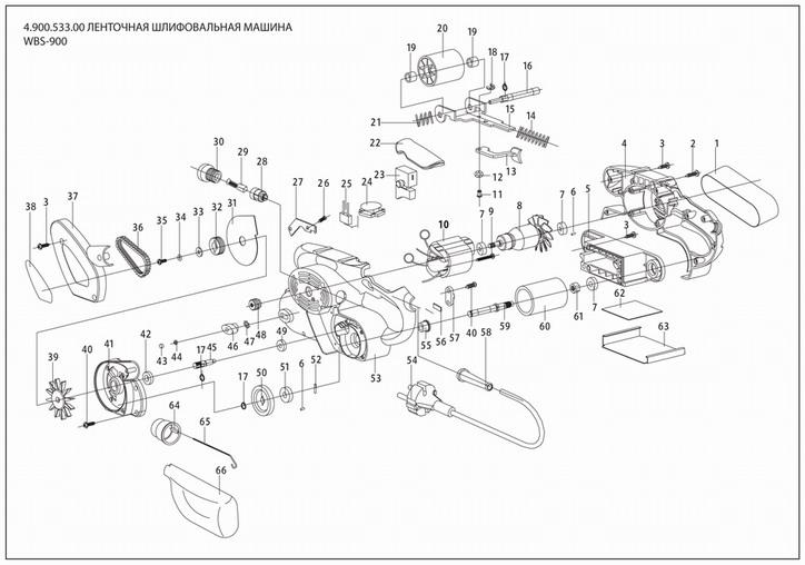 Деталировка на ленточную шлифовальную машину WATT WDS-900 (4.900.533.00)
