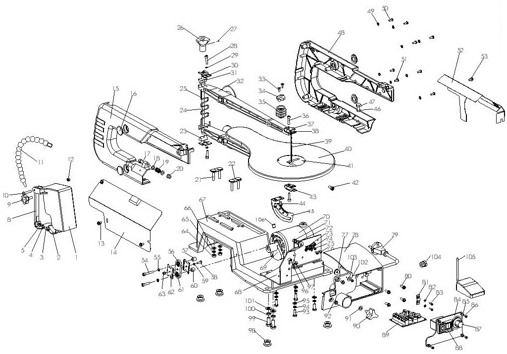 Деталировка лобзикового станка WATT WSS-406 (17.130.406.00)