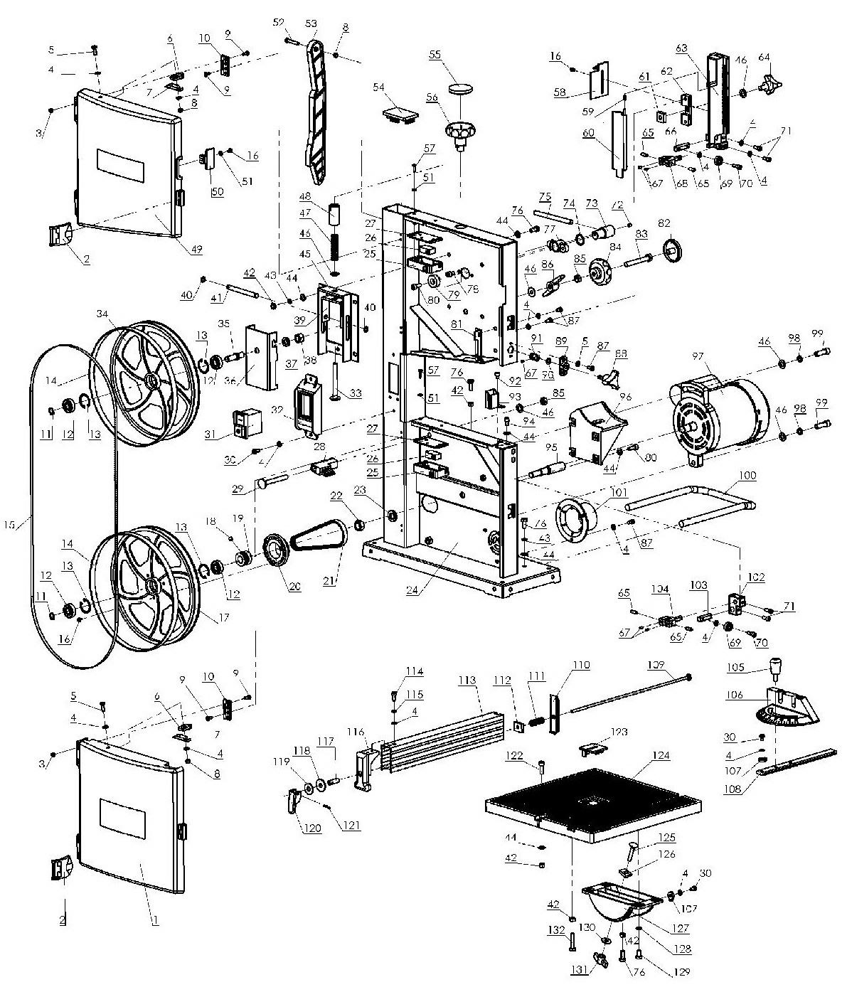 Деталировка на ленточную пилу WATT WSB-230 (17.350.230.00)