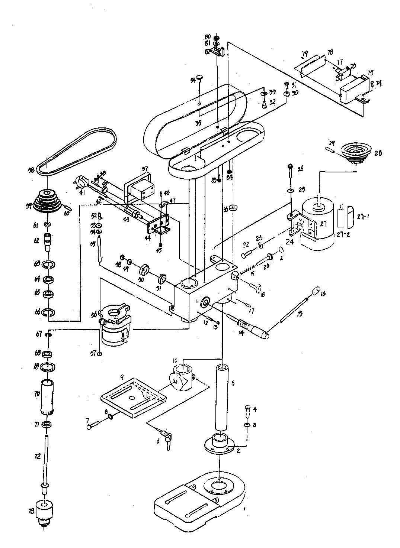 Деталировка на сверлильный станок WATT WSB-401 (18.350.050.00)