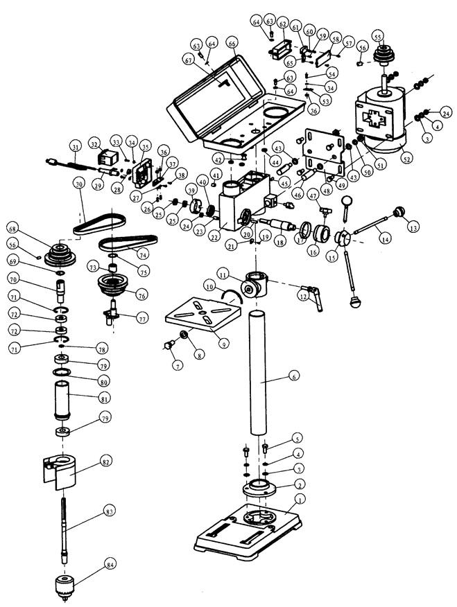Деталировка на сверлильный станок WATT WSB-501 (18.500.050.00)
