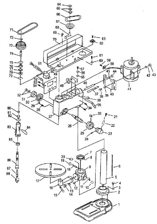 Деталировка на сверлильный станок WATT WSB-701 (18.630.060.00)
