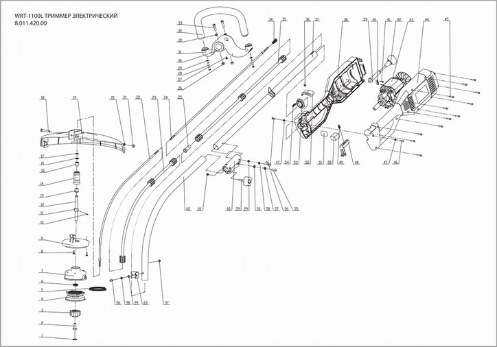 Деталировка на электрический триммер WATT WRT-1100L (8.011.420.00)