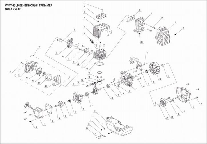 Деталировка на двигатель бензинового триммер WATT WMT-43LB (8.043.254.00)