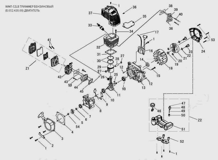 Деталировка на двигатель бензинового триммер WATT WMT-52LB (8.052.430.00)