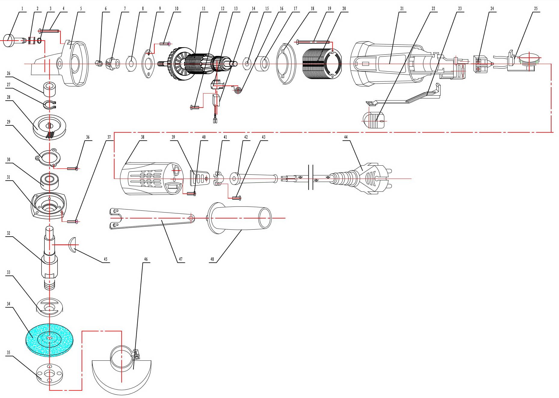 Деталировка на болгарку WATT WWS-1100 (4.011.125.10)