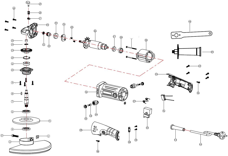 Деталировка на болгарку WATT WWS-900 (4.900.125.20)