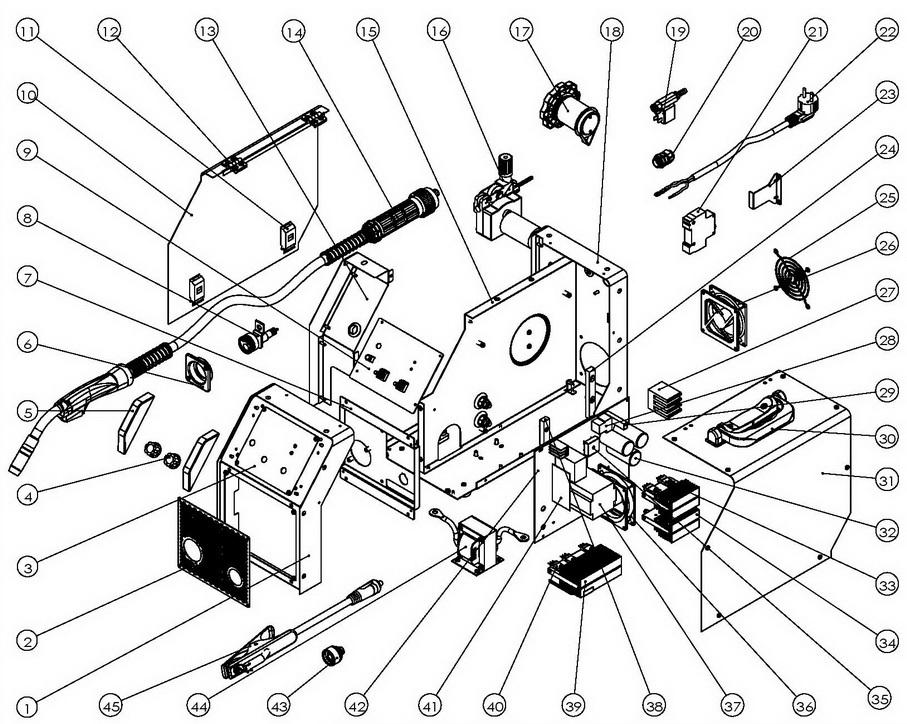 Деталировка на cварочный аппарат WATT EUROMIG 160 (12.160.008.00)