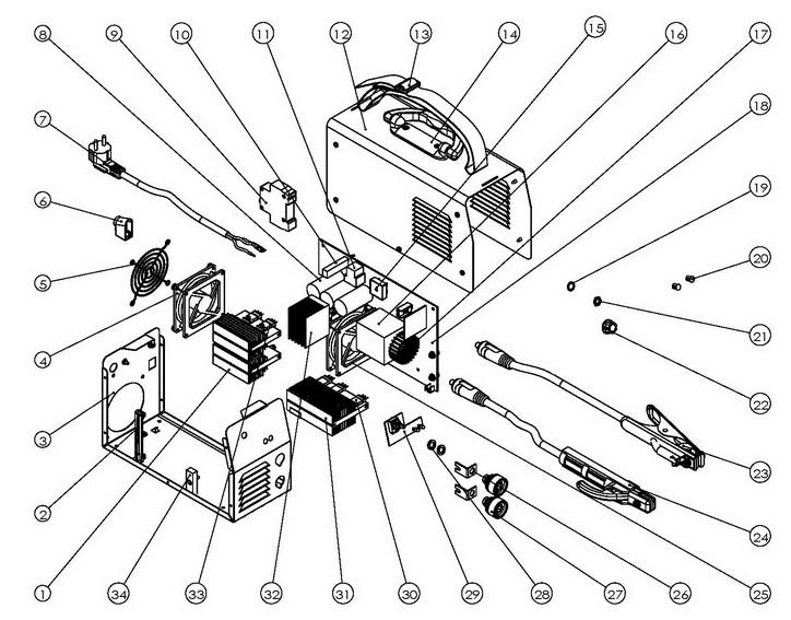 Деталировка на сварочный аппарат WATT MMA-180i (12.180.040.00)