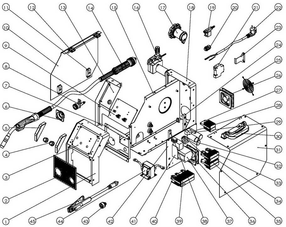 Деталировка на cварочный аппарат WATT EUROMIG 230 (12.230.010.00)