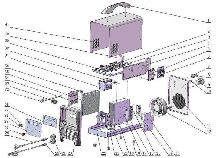 Деталировка на сварочный аппарат Hugong InverDelta 300 (9.16.013-30)