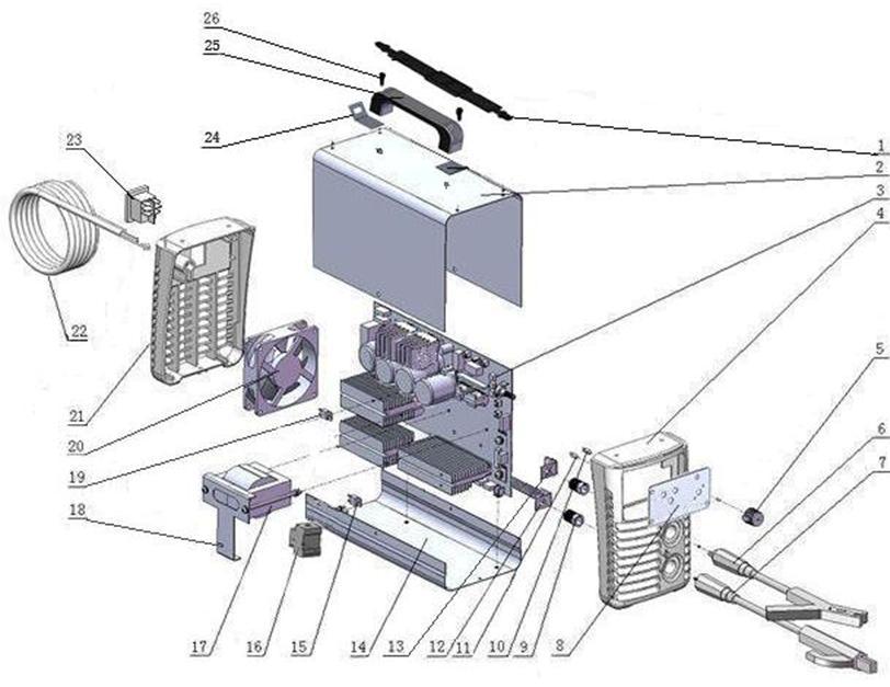 Деталировка на сварочный аппарат Hugong CARiARC-200 (9.18.007-7)