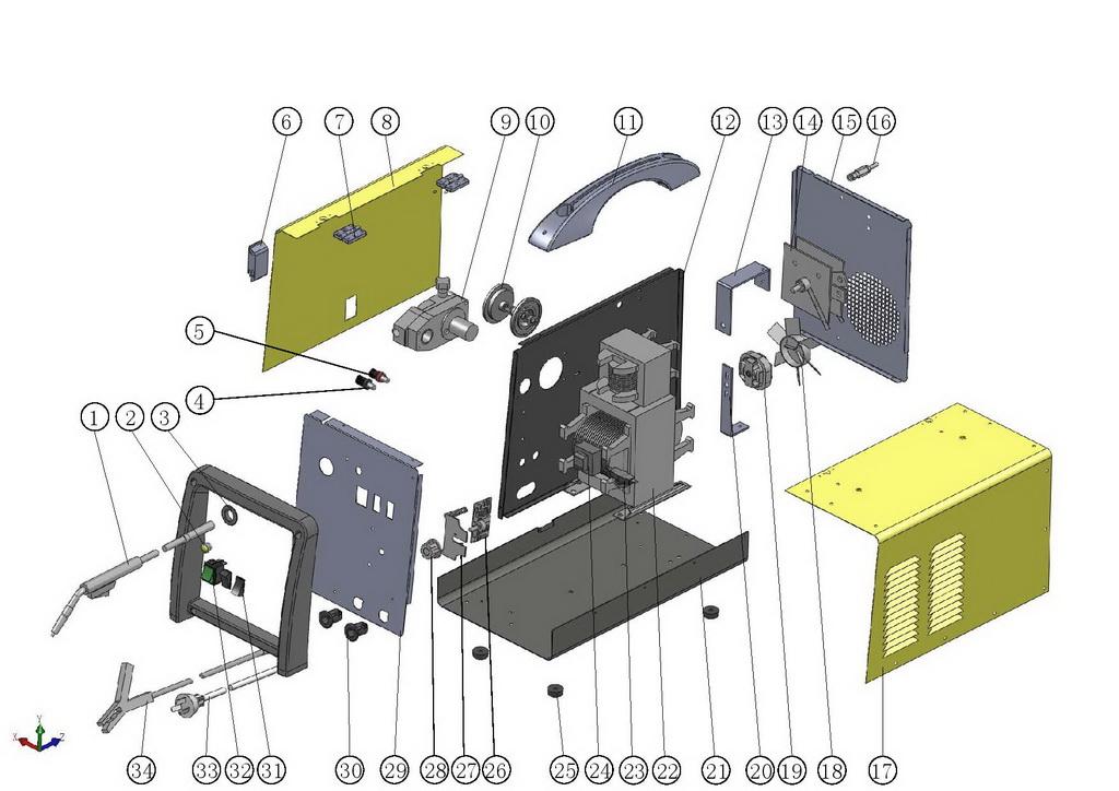 Деталировка на cварочный аппарат Hugong MINIMIG-150 (9.20.005-24)