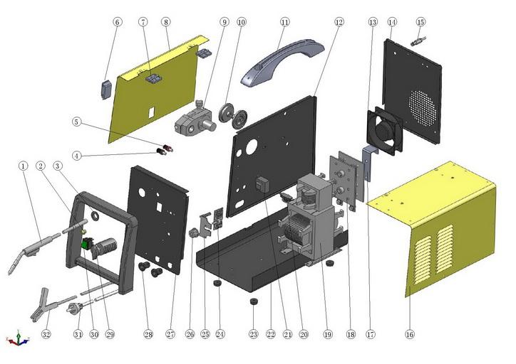 Деталировка на cварочный аппарат Hugong MINIMIG-180 (9.20.010-44)
